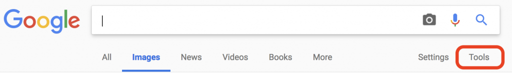 "Screencapture of the Google search bar. The ""Tools"" searching option is circled in red."